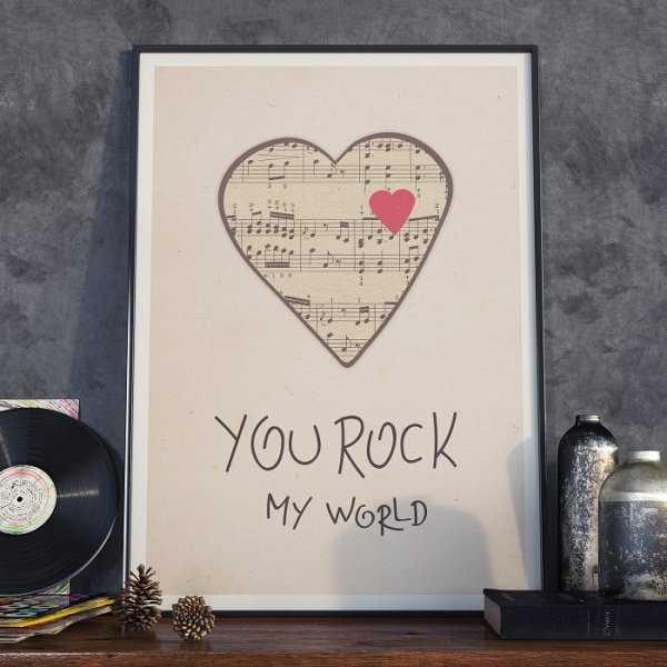 YOU ROCK MY WORLD - Plakat w ramie