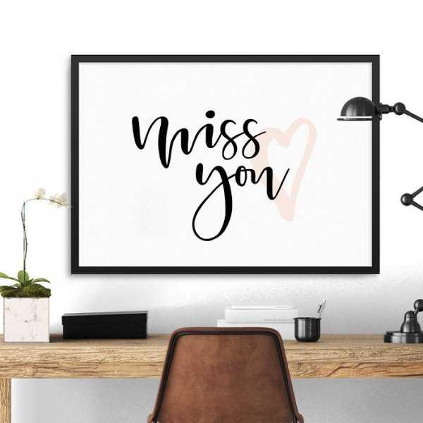 MISS YOU - Plakat w ramie