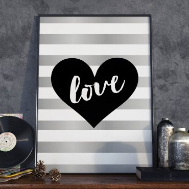 HEART LOVE ART - Plakat w ramie