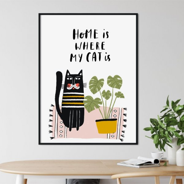 plakat my home is where my cat is