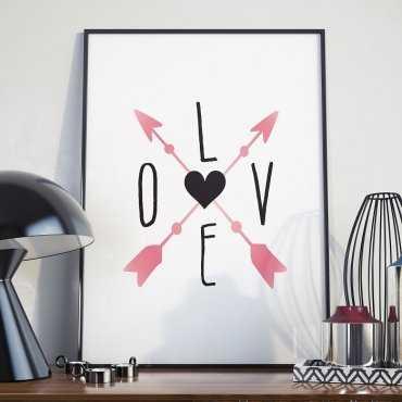 LOVE AND ARROWS - Plakat w ramie