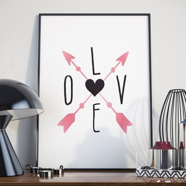 LOVE AND ARROWS - Plakat w ramie