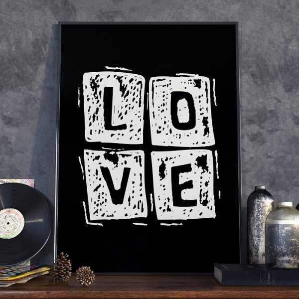 LOVE SQUARE - Plakat w ramie
