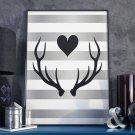 DEER LOVE - Plakat w ramie