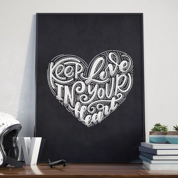 KEEP LOVE IN YOUR HEART - Plakat w ramie