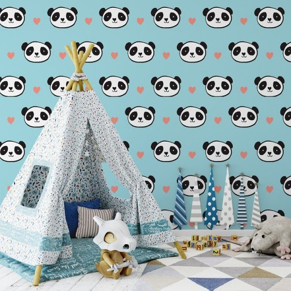 BLUE PANDA - Tapeta ścienna