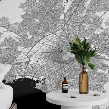 tapeta na ścianę mapa ateny