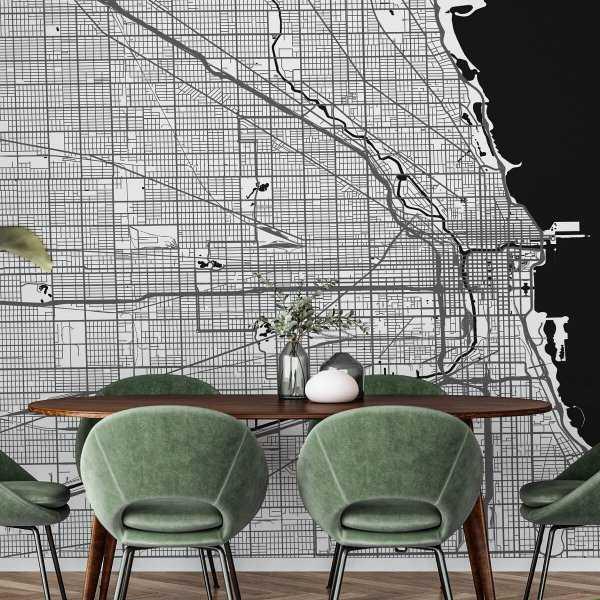 mapa chicago tapeta ścienna