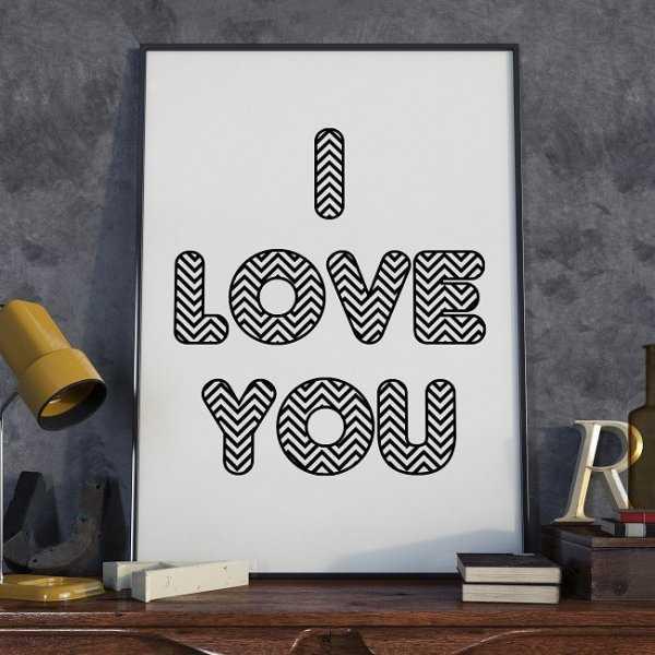 I LOVE YOU - Plakat typograficzny