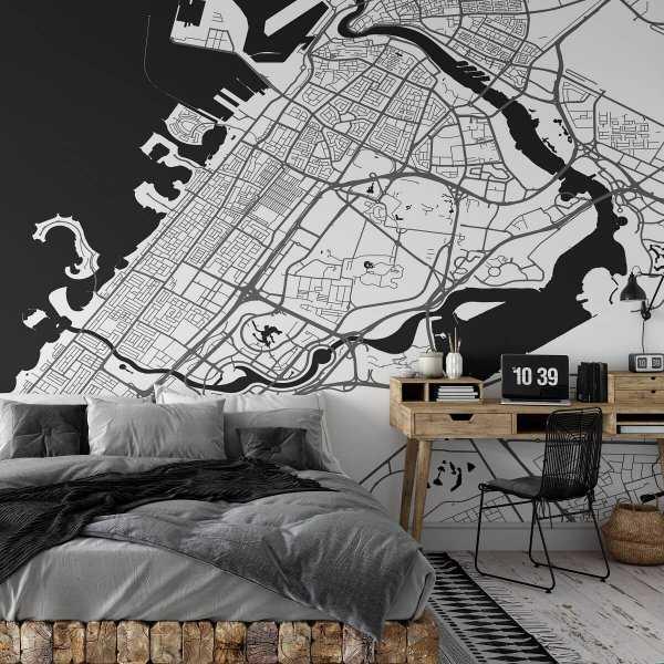 tapeta ścienna z mapą mapa dubaj