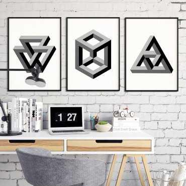 GEOMETRY 3D - Komplet trzech plakatów w ramach