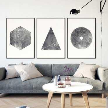 GRUNGE GEOMETRY - Komplet trzech plakatów w ramach