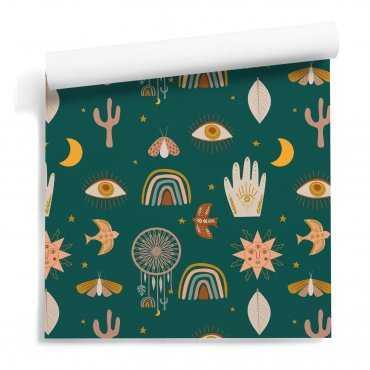 tapeta green boho collage