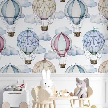 tapeta cloudy balloons na ścianę