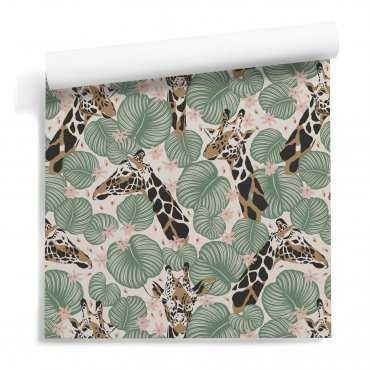giraffe leaves tapeta ścienna