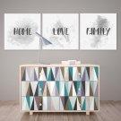 HOME LOVE FAMILY - Komplet trzech obrazów na płótnie