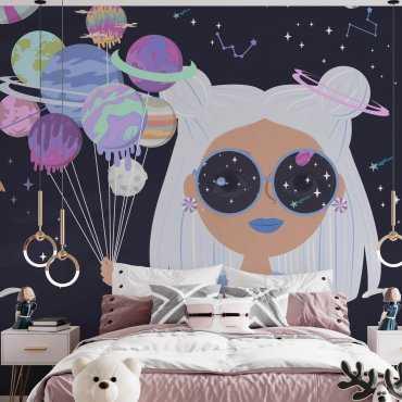 space lollipop tapeta dziewczęca