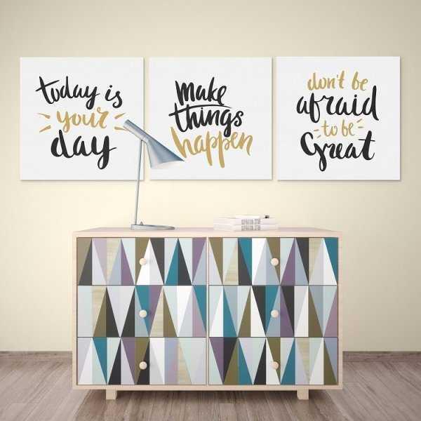 TODAY IS YOUR DAY - Komplet trzech obrazów na płótnie