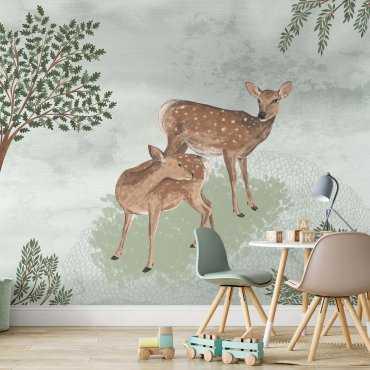 forest twins tapeta dziecięca