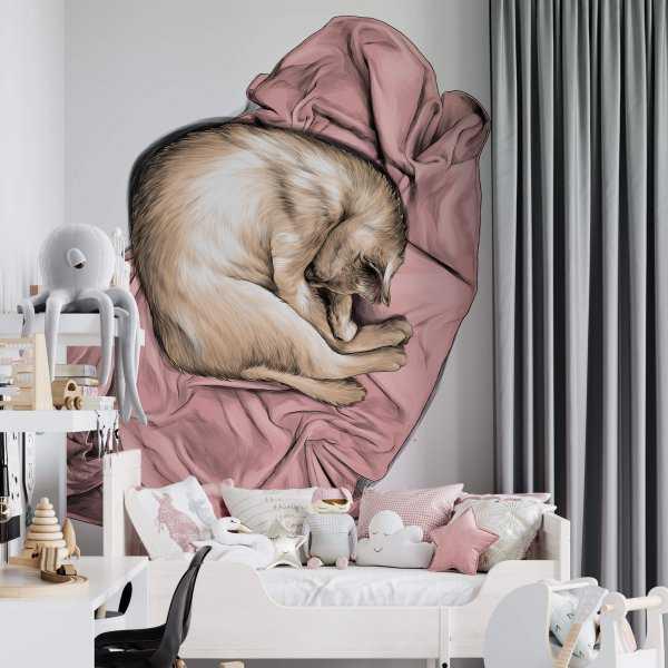 tapeta na ścianę lovely sleeping cat