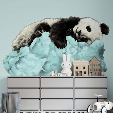 mint panda tapeta dziecięca