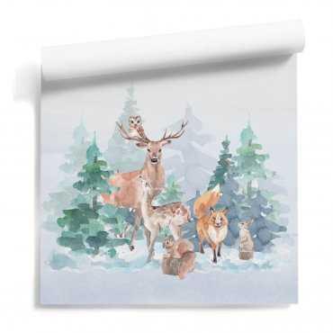 tapeta ścienna dla dzieci furry woods