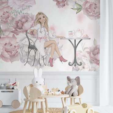 tapeta dziewczęca pink tea world