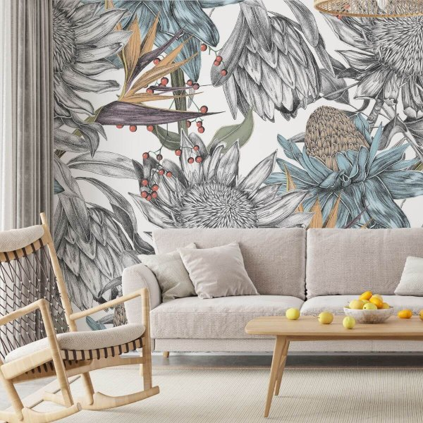 tapeta na ścianę wzór bright flora