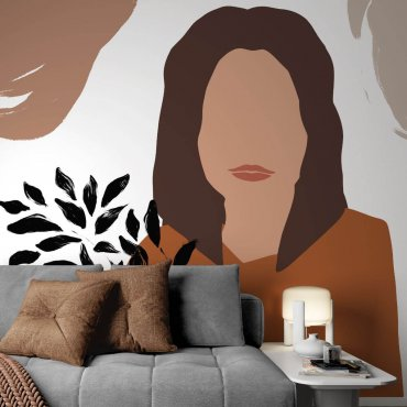 tapeta ze wzorem line art portrait