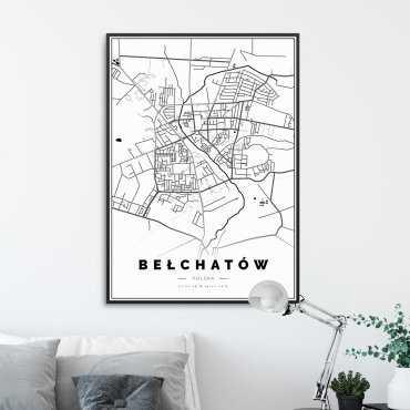 mapa Bełchatowa plakat