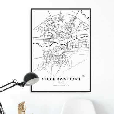 plakat w ramie mapa biała podlaska