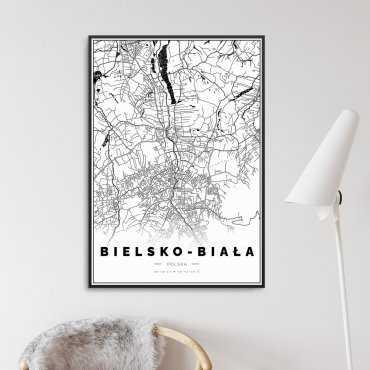 Bielsko-Biała plakat mapa
