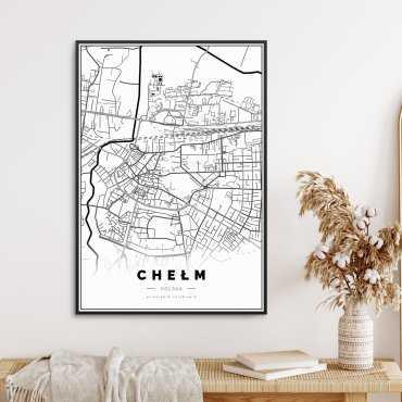 mapa Chełma na plakacie w ramie