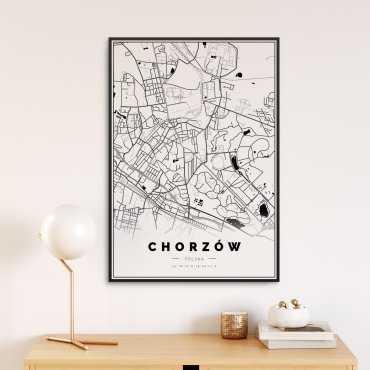 mapa Chorzowa na plakacie
