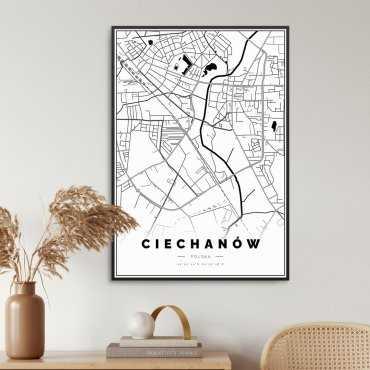 mapa ciechanów na plakacie