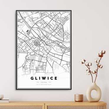 mapa gliwic na plakacie