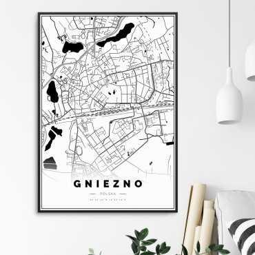 mapa gniezna na plakacie