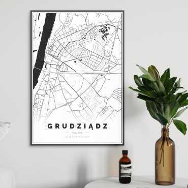 mapa grudziądza na plakacie