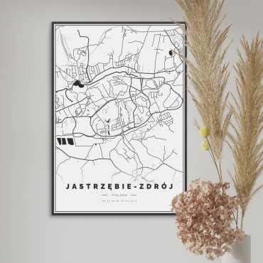 mapa jastrzębie-zdrój na plakacie