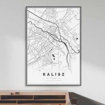 plakat w ramie z mapą kalisza
