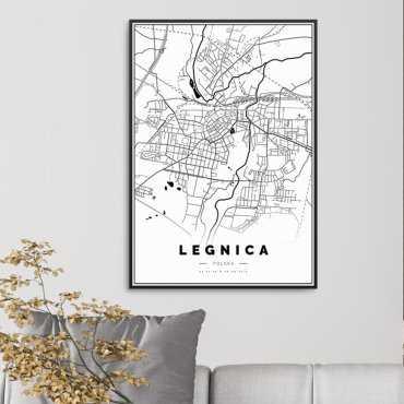 mapa legnica plakat w ramie