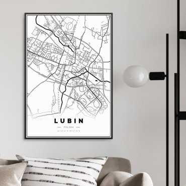 mapa lubin plakat w ramie