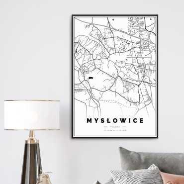 mapa mysłowic na plakacie
