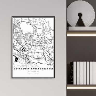 mapa ostrowiec świętokrzyski plakat