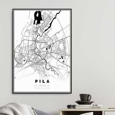 Mapa Piła na plakacie