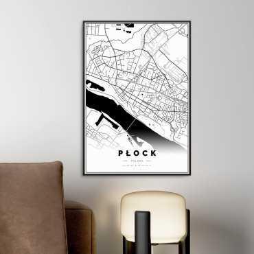 mapa płocka na plakacie