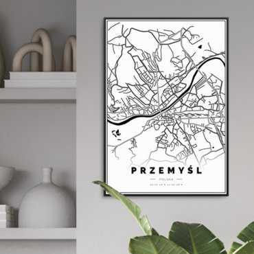 plakat w ramie przemyśl mapa