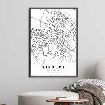 mapa siedlce plakat w ramie