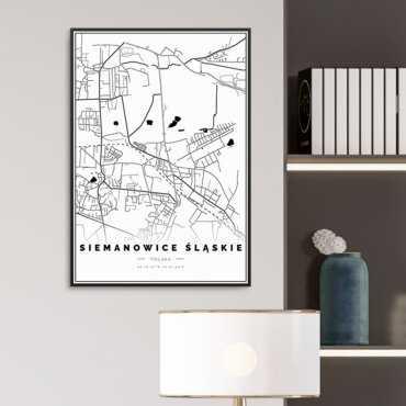 mapa siemanowic śląskich na plakacie w ramie