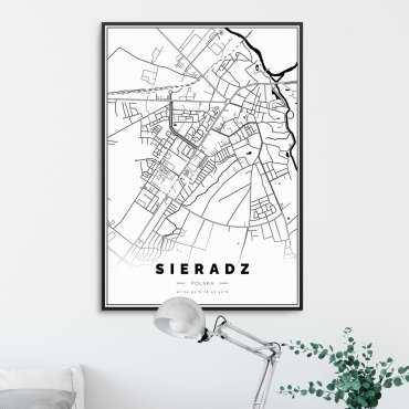 mapa sieradza na plakacie
